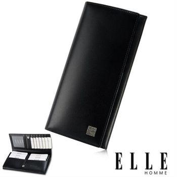 【ELLE HOMME】長皮夾 義大利皮革、專屬拉鍊式零錢收納/鈔票多層長皮夾(黑 EL81808-02)