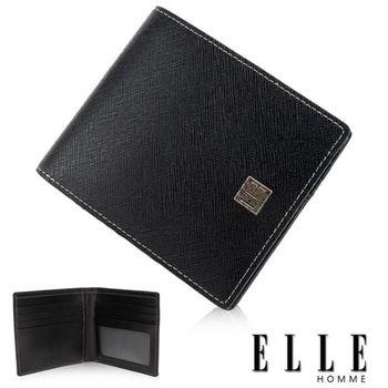 【ELLE HOMME】精品短夾 鑽石紋、單層 鈔票多層/證件層/名片層設計(黑 EL81787-02)