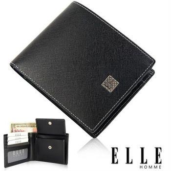 【ELLE HOMME】法式短皮夾 機能性零錢收納/鈔票多層/證件夾層/設計短皮夾(黑 EL81788-02)