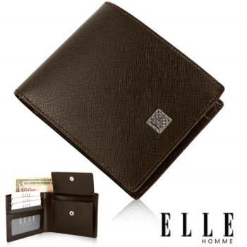 【ELLE HOMME】法式皮夾機能性零錢收納/鈔票多層/證件夾層設計短皮夾(咖啡 EL81788-45)