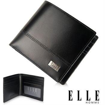 【ELLE HOMME】精品短夾 水波紋 單層 鈔票多層/收納夾名片/證件層設計(黑 EL81793-02)