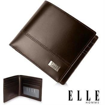 【ELLE HOMME】精品短夾 水波紋 單層 鈔票多層/收納夾名片/證件層設計(咖啡 EL81793-45)