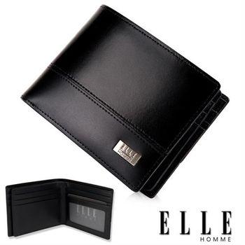 【ELLE HOMME】精品短夾 水波紋 雙層 鈔票多層/收納夾名片/證件層設計(黑 EL81795-02)