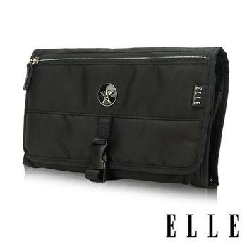 【ELLE】法式優雅時尚 旅行掛勾盥洗包/收納包/化妝包(黑 EL82351-02)