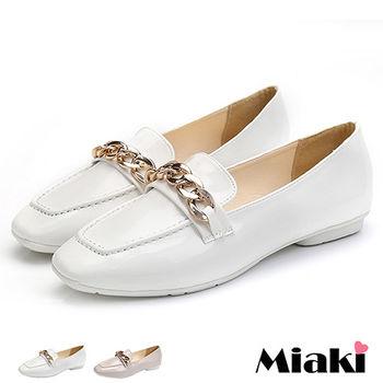 【Miaki】娃娃鞋韓雅痞金屬低跟包鞋 (米色 / 白色)