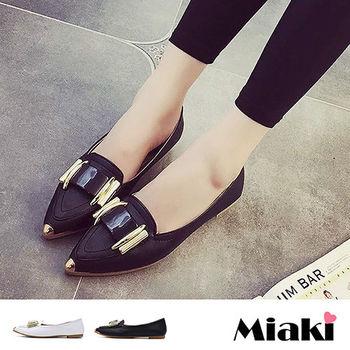 【Miaki】娃娃鞋韓都會質感尖頭低跟包鞋 (黑色 / 白色)