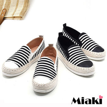 【Miaki】休閒鞋韓夏日草編橫條紋拼接平底懶人包鞋 (黑色 / 白色)