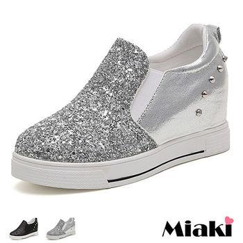 【Miaki】休閒鞋韓劇金蔥鉚釘內增高厚底包鞋 (黑色 / 灰色)