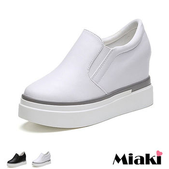 【Miaki】休閒鞋韓劇質感內增高厚底懶人包鞋 (黑色 / 白色)