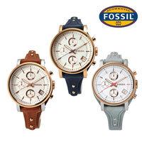 FOSSIL  Original Boyfriend 雅典娜三環計時皮革腕錶 38mm