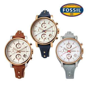 FOSSIL / Original Boyfriend 雅典娜三環計時皮革腕錶 38mm / 三色選