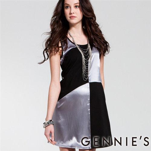 【Gennies奇妮】金屬光澤方格拼接春夏孕婦背心洋裝(C1134)