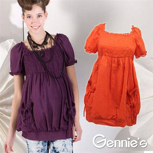 【Gennie's奇妮】  高雅時尚抽皺褶飾春夏孕婦上衣-橘 (G3163)