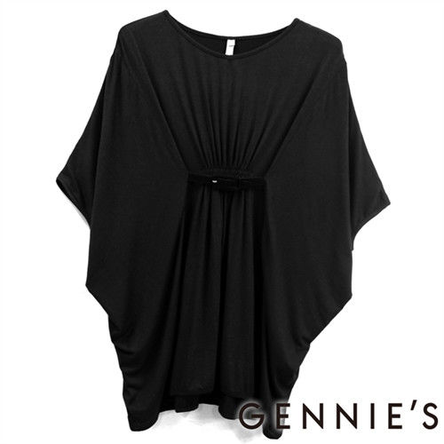 【Gennies奇妮】輕柔知性極彈素面春夏孕婦上衣-黑 (G3185)