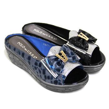 【GREEN PHOENIX】大朵水鑽蝴蝶結不對稱壓克力紋全真皮厚底魚口拖鞋-藍色、黑色