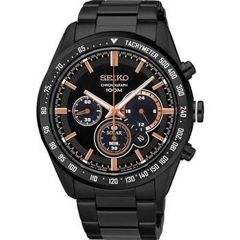 SEIKO Criteria 極速風暴太陽能計時碼錶-黑/42mm V175-0DK0K(SSC477P1)