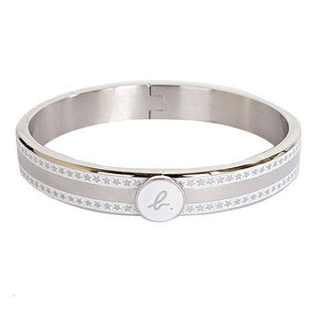 agnes b. 白底 b-logo星星造型手環(銀/女版)