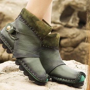 [背叛風情]新款女士真皮短靴原創牛皮磨砂靴子復古平底女靴01508