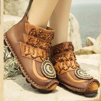 [背叛風情]新款真皮短靴女士平底騎士靴圓頭短筒女靴01505兩色