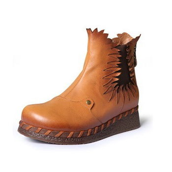 [背叛風情]牛皮短筒靴女士中跟圓頭靴子坡跟女靴後拉鍊T15BXZ86981