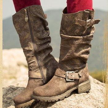 [背叛風情]圓頭靴子牛皮磨砂中筒靴中跟女靴民族風騎士靴T15BXZ81912