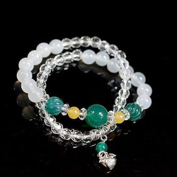 【喨喨飾品】綠瑪瑙搭配白玉髓/黃玉 桃子墜飾二圈式造型手鍊 (A542)