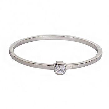 agnes b.  方形水鑽造型手環(銀/女版)