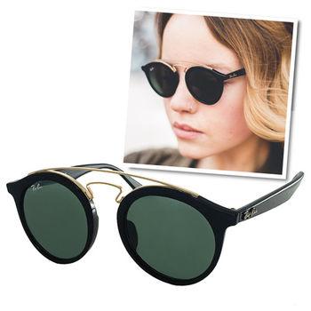 【Ray Ban 雷朋】4256F-601/71_人氣部落客推薦/明星款太陽眼鏡(黑框-綠鏡面)