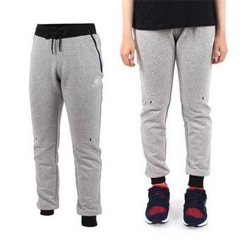 【NEWBALANCE】女長褲- 路跑 慢跑 健身 訓練 棉褲 NB 麻灰黑 腰部鬆緊附抽繩