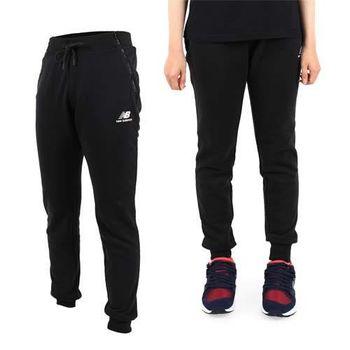 【NEWBALANCE】女長褲- 路跑 慢跑 健身 訓練 棉褲 NB 黑白  腰部鬆緊附抽繩