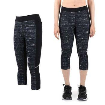 【NEWBALANCE】女七分褲-緊身褲 路跑 慢跑 健身 NB 迷彩黑灰  內側口袋設計