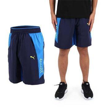 【PUMA】VENT男訓練系列平織運動短褲-慢跑 路跑 健身 丈青藍  雙側口袋