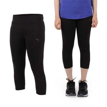 【PUMA】女訓練系列七分緊身褲-七分褲 路跑 慢跑 瑜珈 健身 黑銀  吸濕排汗