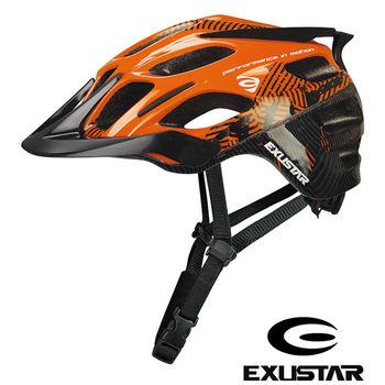 EXUSTAR 一體成型設計 自行車安全帽(亮面橘)