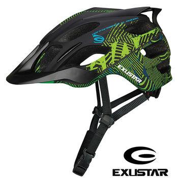 EXUSTAR 一體成型設計 自行車安全帽(消光綠)