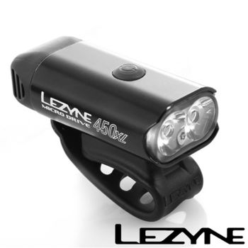 LEZYNE MICRO DRIVE 450XL USB充電光學透鏡LED競速夜騎照明警示前燈(黑)