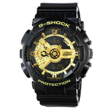 CASIO 卡西歐G-SHOCK 抗磁雙顯重機鬧鈴電子錶-黑 X 金 / GA-110GB-1A