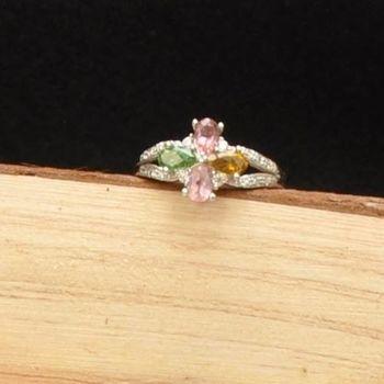 【品澐珠寶】現貨 四葉幸運草系列多彩碧璽戒指