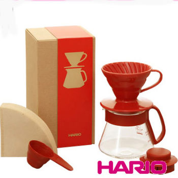HARIO V60紅色濾杯咖啡壺組 / VDS-3012R