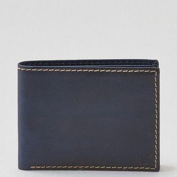 【American Eagle 】2016男時尚前角標誌深藍色雙折皮夾(預購)