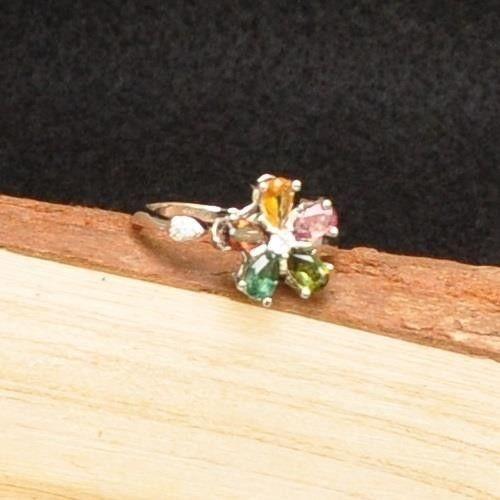 【品澐珠寶】現貨 花朵系列多彩碧璽戒指