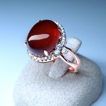 【Selene 珠寶】典雅橙石榴戒指(錳鋁榴石)