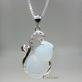【Selene 珠寶】冰地富貴葫蘆翡翠項鍊(A貨翡翠)