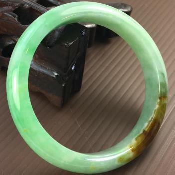 【森茂珠寶】緬甸天然翡翠A貨 三彩圓形手鐲 A935