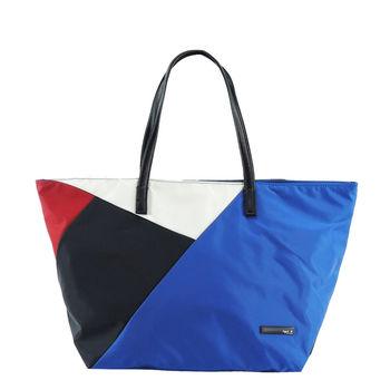 agnes b.幾何圖形手提包(藍)