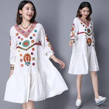 【Moriya日森系 】優質高端刺繡民族風七分袖洋裝FD333現+預