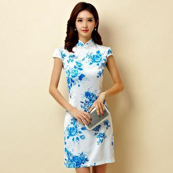 【KVOLL中大尺碼】藍色改良復古絲綢短旗袍