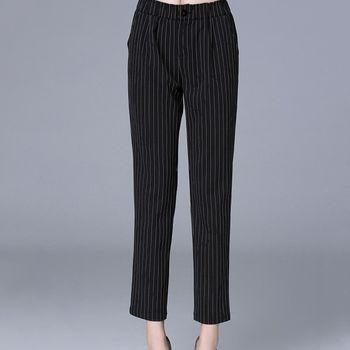 【KVOLL中大尺碼】直條紋顯瘦休閒長褲
