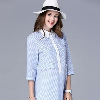 【KVOLL中大尺碼】小清新藍白直條撞色襯衫