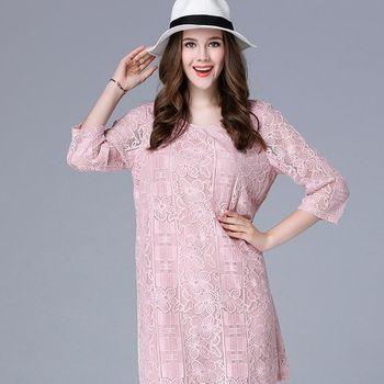 【KVOLL中大尺碼】蕾絲刺繡小性感七分袖洋裝